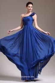 flower one shoulder strap unique royal blue long prom dress