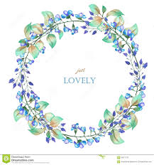 a floral circle frame wreath of the watercolor blue flowers and