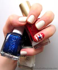 4th of july nails liner and glitter and gloss oh my