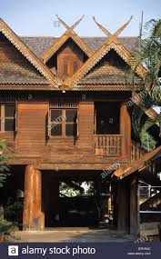 traditional wooden lanna or northern thai style house phrae stock