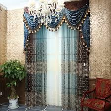 Blue And Beige Curtains Customized Curtains In Blue Color