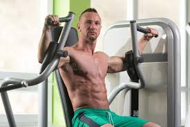 butterfly chest exercise on machine stock image image of