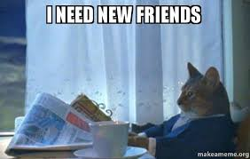 I Need New Friends Meme - i need new friends sophisticated cat make a meme