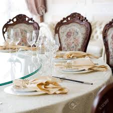 How To Set A Formal Dining Room Table Formal Dining Room Table And Chairs Set For Dinner Stock Photo