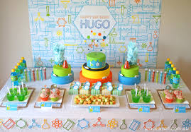 themed dessert table way cool science party design dazzle