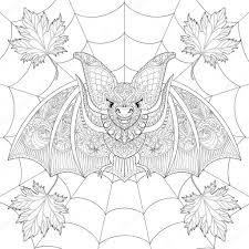 zentangle stylized bat with fall autumn leaves on spider web for
