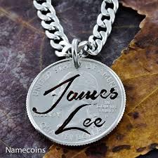 Custom Name Necklaces Name Necklace Custom Name Hand Cut On Quarter In Brush Script