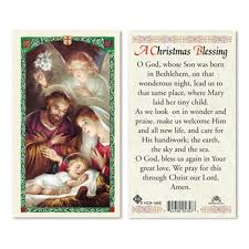 blessing card christmas blessing laminated prayer card