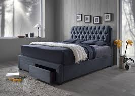 Grey Bed Frame Bed Frame Upholstered With Drawers Available In King 2