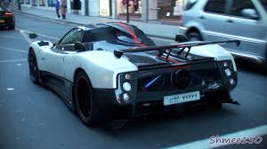 blue pagani zonda pagani zonda cinque roadster huge sounds revs and acceleration