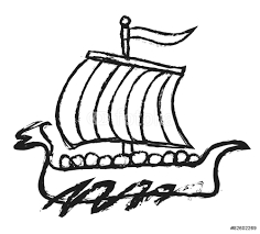 doodle viking ship viking boat illustration wall sticker wall doodle viking ship viking boat illustration wall sticker