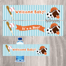 baby shower sports invitations sports water bottle labels printable baby blue sports themed