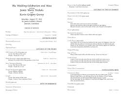 wedding program templates catholic wedding program template 6