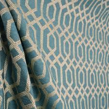 Drapery And Upholstery Fabric Parquet Slate Teal Blue Light Beige Grey Geometric Trellis