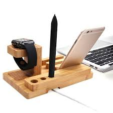 3 in 1 detachable bamboo apple watch stand charging docking