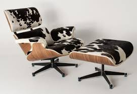 furniture unique cowhide eames lounge chair replica and ottoman