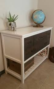 diy gray with wood top planked wood sideboard so beautiful love
