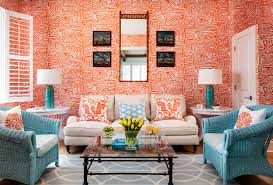 abstract orange wallpaper is complemented by light blue wicker