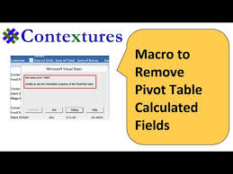 How To Remove Pivot Table Macro To Remove Pivot Table Calculated Field Youtube