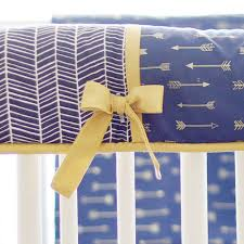 navy and gold arrow crib rail guard crib rail cover navy crib