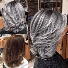 hairstyles with grey streaks silver hair streaks silver gray colored hair medium length