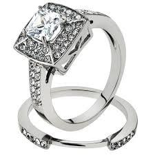 stainless steel wedding rings artk1088 stainless steel wedding ring set 2 65 ct halo princess