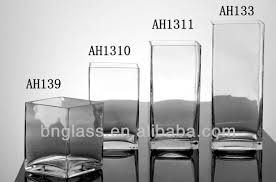 Clear Glass Square Vase Wedding Centerpiece