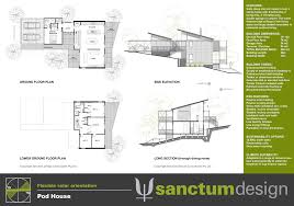 Hillside House Plans With Garage Underneath Sanctum Design Environmentally Responsible Home Design And