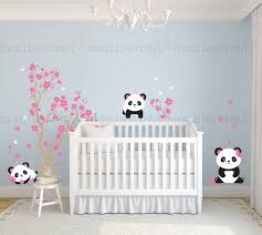 Vinyl Tree Wall Decals For Nursery by Pandas And Cherry Blossom Tree Panda Decal Panda Vinyl Wall