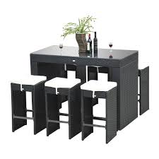 amazon com outsunny 7pc rattan wicker bar stool dining table set