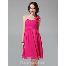 Short Knee Length Chiffon Bridesmaid Dress Fuchsia Plus Sizes