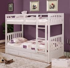 Bunk Beds For Three Bedroom Gray Stained Wodoen Loft Bunk Bed With Cream Walk