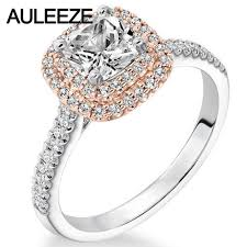 two tone gold engagement rings halo lab grown engagement wedding ring 1ct cushion