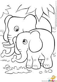 free printable coloring page of elephant kids coloring