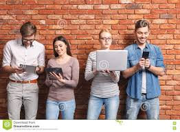 young people communicating only through modern technology stock