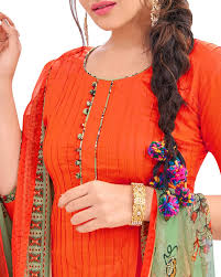 shop patiala cotton suit in orange colour from simaaya prfa7680