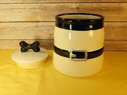 Black Ceramic Kitchen Canisters Vintage Dogbone Ceramic Kitchen Canister White And Black Buckle