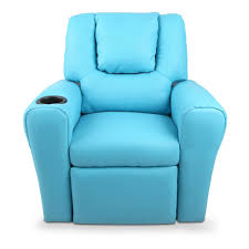 light blue recliner chair kids padded pu leather recliner chair blue ruggabub baby goods