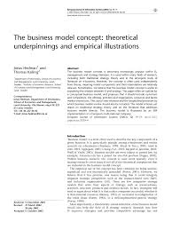 kalling t the business model concept theoretical underpinnings