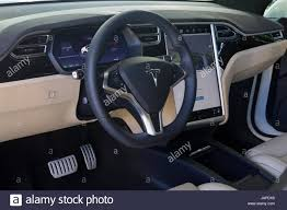 tesla inside turin italy 7th june 2017 interior view and dashboard of tesla