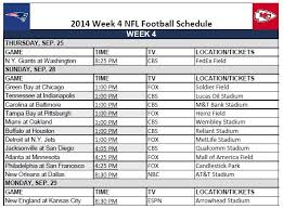 printable 2014 nfl week 4 schedule