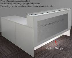 led light desk l emerge glass top l shaped reception desk w drawers led light 66
