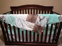 Baby Deer Crib Bedding Boy Crib Bedding Stag Deer Skin Minky White Arrow Mint