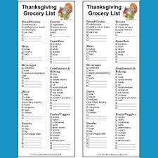 printable thanksgiving and grocery lists