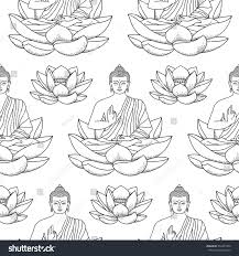 seamless pattern sitting buddha on lotus stock vector 534391900