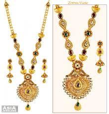 long gold necklace sets images 22k kundan patta necklace set ajns59203 22k gold designer long jpg