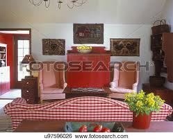 Country Hooked Rugs Stock Images Of Collection Displays Hooked Rugs Hang Above