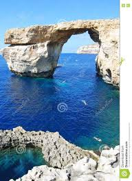 the azure window and the blue hole in gozo stock photo image