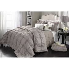 Ruched Bedding Cierra Taupe Ruched 3 Piece Comforter King At Home At Home
