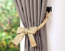 Curtain Rope Tie Backs Curtain Rope Tie Backs Drapery Tiebacks Hemp And Burlap Bow